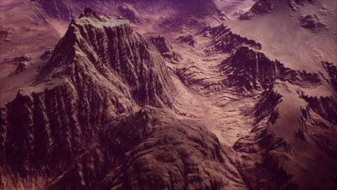 4K Aerial View of a Rocky Canyon Arid Landscape Cinematic 3D Animation Animation