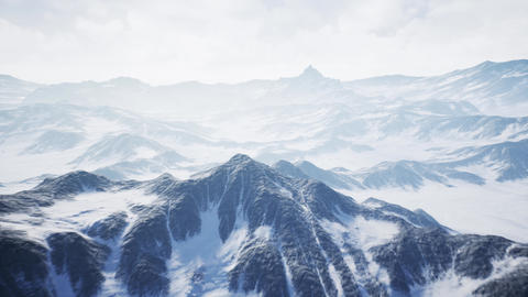 4K Aerial View of an Unfriendly Frozen Mountain Landscape Cinematic 3D Animat Animation