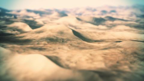 4K Camera Pans Over a Massive Sandy Desert Cinematic Tilt Shift 3D Animation Animation