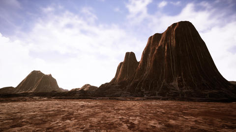 4K Red Rock Desert Under Cloudy Sky Cinematic 3D Animation Animation