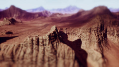 4K Rocky Desert Terrain Geology Cinematic Tilt Shift 3D... Stock Video Footage