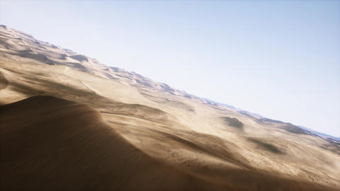 4K Simulating Aerial Route of Fast Flying Drone in Sandy Desert 3D Animation Animation