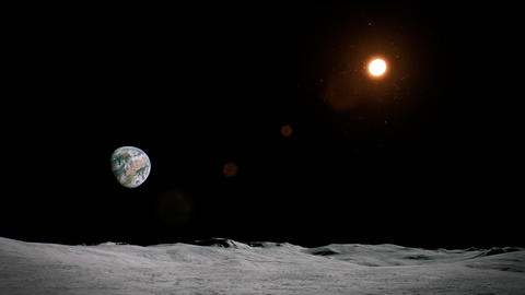4K View to the Earth and Sun from the Moon Cinematic 3D Animation Animation