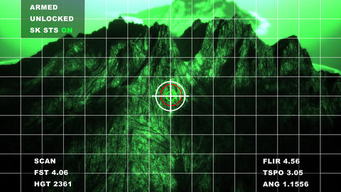 4K Military Surveillance Green Display in Mountains Aerial Cinematic 3D Anima Animation