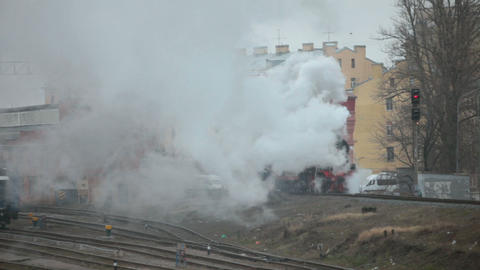 steam train at the railway station Live Action
