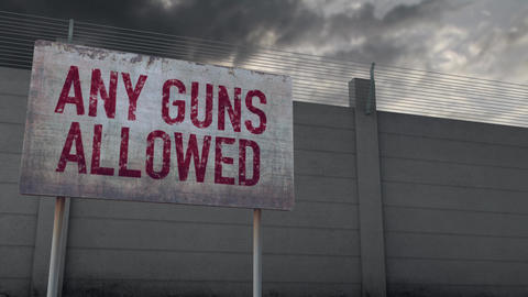 4K Any Guns Allowed Warning and Strong Fence under Clouds Timelapse Animation