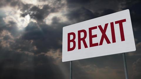4K Brexit Warning Sign under Clouds Timelapse Animation