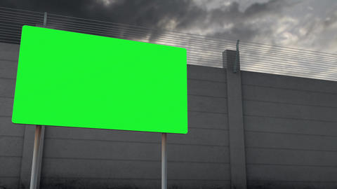 4K Customizable Green Warning and Strong Fence under Clouds Timelapse Animation