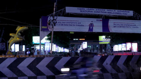 Exterior shot railway station of madurai, city night road traffic Live Action
