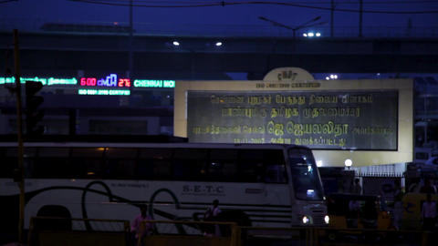 Chennai Mofussil Bus Terminus(CMBT), modern bus stop exterior shot Live Action