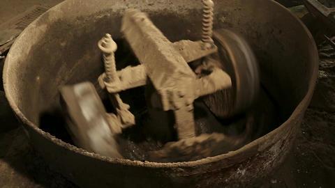 close up machine rotating cement concrete mixer machine Live Action