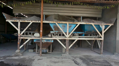 A small scale cement brick industry, cement missing, Concrete Mixer Work on Live Action