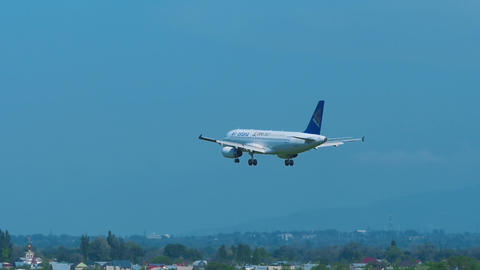 Air Astana Airbus 320 approaching Footage