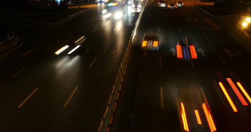 4k nighttime traffic in an urban city,China highway road street timelapse Footage