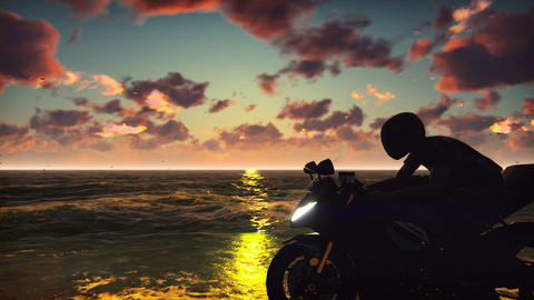 Man on a motorbike on the beach against the ocean, the sky, during sunset Animation