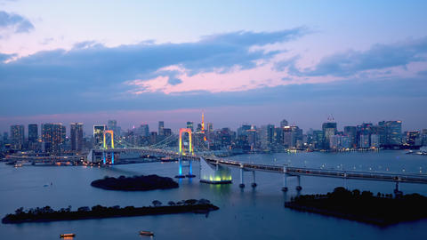 TimeLapse - Daytime to night scenery in Tokyo and Tokyo bay - Pan left to right Footage