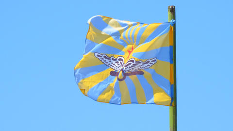 Flag of the Russian air force against the blue sky Live Action