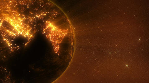 3D Earth by Night with Light Rays Close Up Loop Background Animation