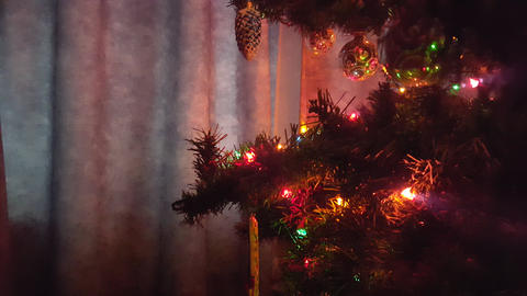 Christmas Tree With Ornaments and Lights Side View Footage