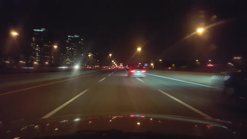 Driving on Highway at Night With Motion Blur Effect Footage