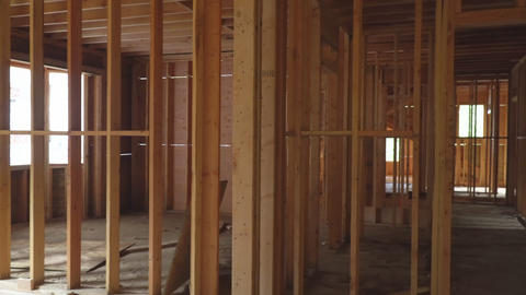 Building construction, wood framing structure at new property development site Live Action