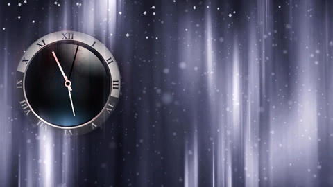 Winter christmas background with moving clock hands and frozen window Animation