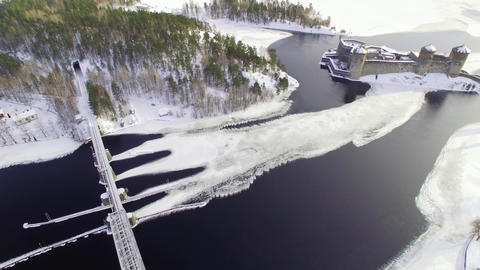 Ice formations at a strait between lakes in winter Footage