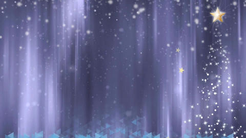 Christmas animated background with tree, star and snow Animation