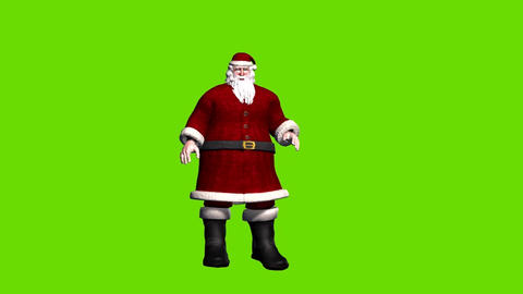 Animated Father Christmas on green background, greeting people Animation