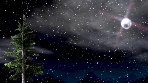 Winter night animated landscape with shine moon and windy moving tree Animation
