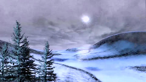 Winter, windy and stormy animated landscape Animation