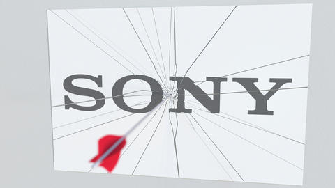 Archery arrow hits plate with SONY logo. Corporate problems conceptual editorial Live Action