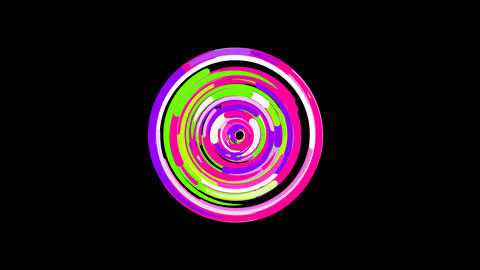 Circles gather in symbol bullseye. After it crumbles in a line and moves to the Animation
