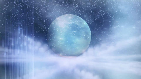 Fantactic christmas background with winter night, shine moon and moving clouds Animation