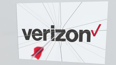 VERIZON company logo being hit by archery arrow. Business crisis conceptual Live Action