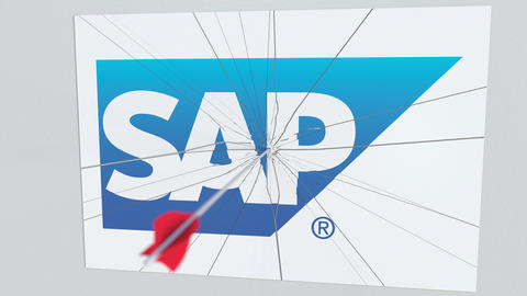 SAP company logo being cracked by archery arrow. Corporate problems conceptual Footage