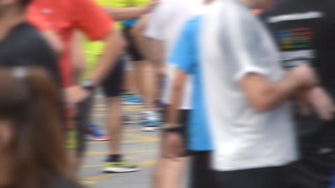 Competitors Gather Before The City Marathon Footage