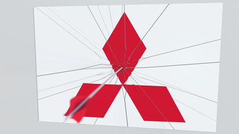 MITSUBISHI company logo being cracked by archery arrow. Corporate problems Live Action