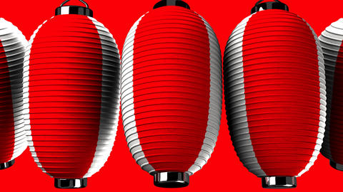 Red and white paper lantern on red background Animation
