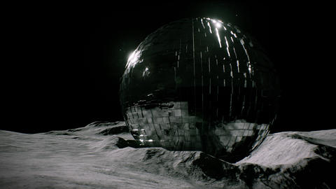 4K Alien Sphere on Asteroid in the Universe 3D Animation Animation