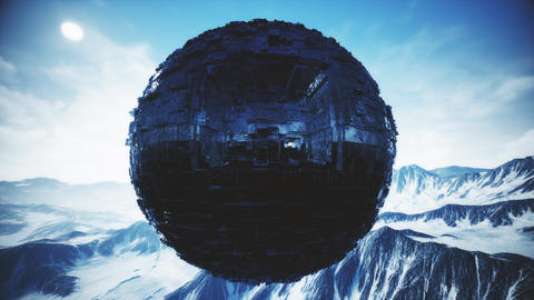 4K Alien UFO Sphere in Snowy Rocky Mountains 3D Animation Animation
