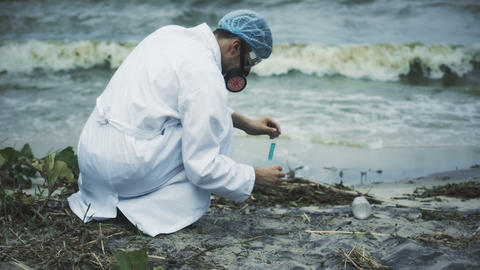 Scientist performing toxic lake pollution test, sources of fresh water damaged Live Action