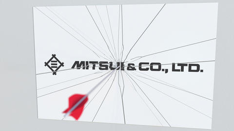 Archery arrow breaks glass plate with MITSUI company logo. Business issue Live Action