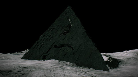 4K Alien Pyramid on Asteroid in Deep Space 3D Animation Animation