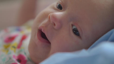Portrait of two months baby girl at home Footage