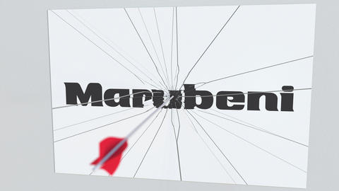 Archery arrow hits plate with MARUBENI logo. Corporate problems conceptual Live Action
