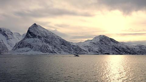 Norwegian Fjord and Winter Evening ビデオ