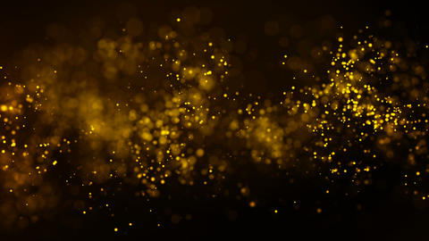 Background gold movement. Universe gold dust with stars on black background Footage