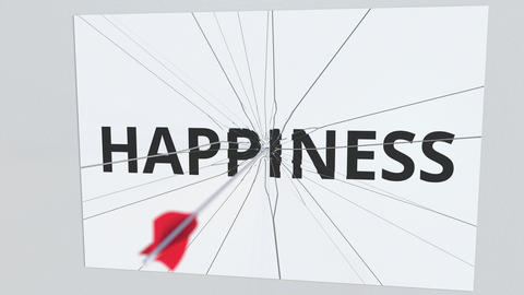 Archery arrow breaks plate with HAPPINESS text, conceptual 3D animation Footage