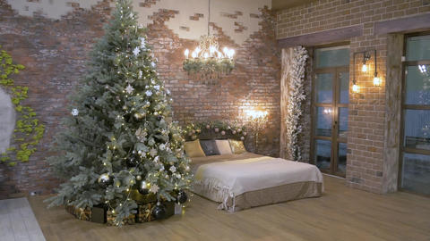 Christmas bedroom for photography Footage